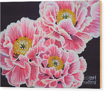 Peony Painting Oil On Canvas No.2 Wood Print by Drinka Mercep