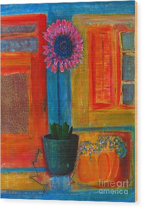 Wood Print featuring the painting Pink Flower by Patricia Januszkiewicz