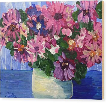 Pink Flowers In Pot Wood Print by Arlene Holtz