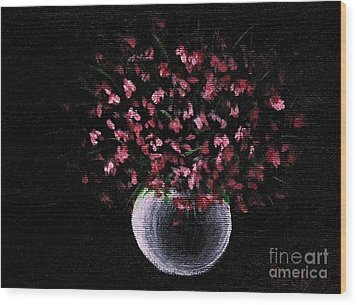 Wood Print featuring the painting Pink Flowers In Vase  by Becky Lupe