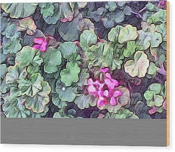 Pink Flowers Painting Wood Print