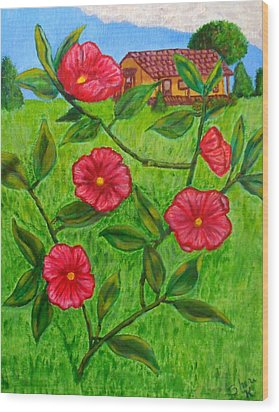 Wood Print featuring the painting Pink Flowers by Sheri Keith