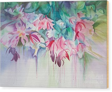 Pink Flowers Watercolor Wood Print by Michelle Wiarda