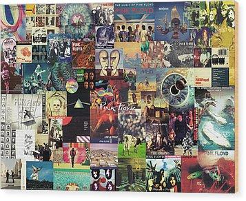 Pink Floyd Collage II Wood Print by Taylan Apukovska