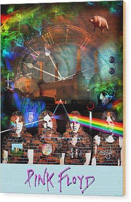 Pink Floyd Collage Wood Print