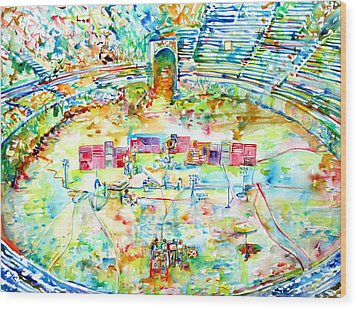Pink Floyd Live At Pompeii Watercolor Painting Wood Print by Fabrizio Cassetta