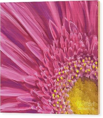 Pink Gerbera Wood Print by Andrea Auletta