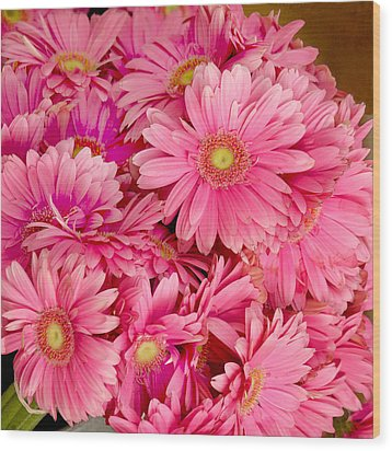 Pink Gerbera Daisies Wood Print by Art Block Collections