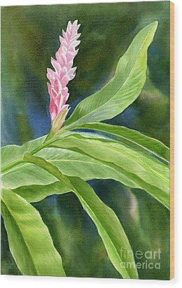Pink Ginger Flower Wood Print by Sharon Freeman
