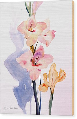 Pink Gladiolas Wood Print by Mark Lunde