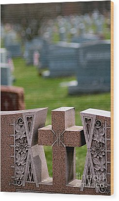 Pink Granite Tombstone Wood Print by Amy Cicconi