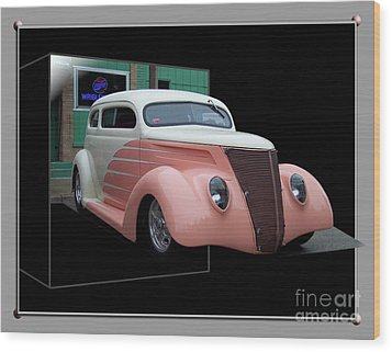Pink Hot Rod 01 Wood Print by Thomas Woolworth