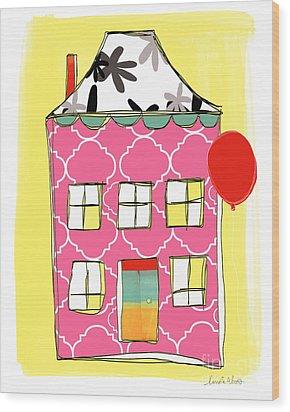 Pink House Wood Print by Linda Woods