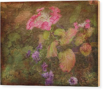 Pink Hydrangea And Purple Pansies Wood Print