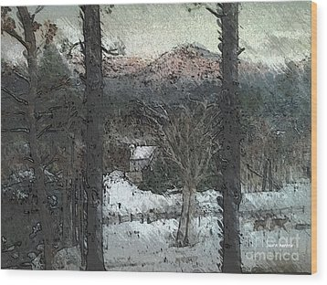 Wood Print featuring the painting Snow - Pink Mountain - Blueridge Mountains by Jan Dappen