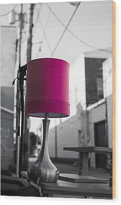 Pink Lamp In The Trash Wood Print