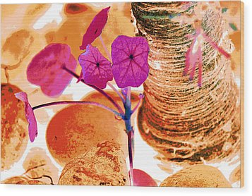 Pink Leaves In The Garden Wood Print by Lisa Holland-Gillem