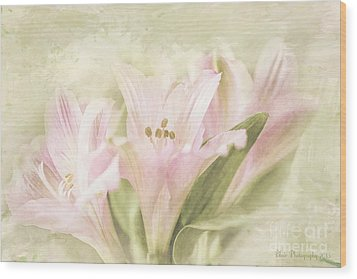 Wood Print featuring the painting Pink Lilies by Linda Blair