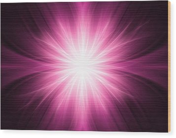 Pink Luminous Rays Background Wood Print by Somkiet Chanumporn