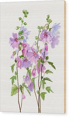 Pink Mallow Flowers Wood Print by Sharon Freeman