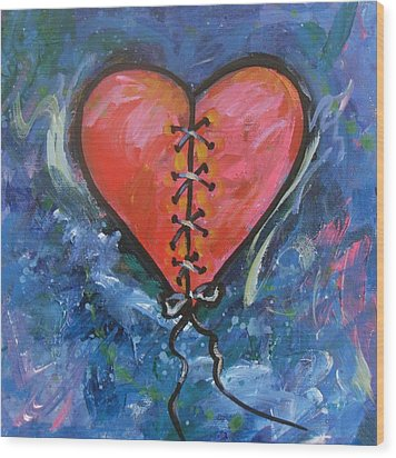 Pink Mended Broken Heart Wood Print by Carol Suzanne Niebuhr