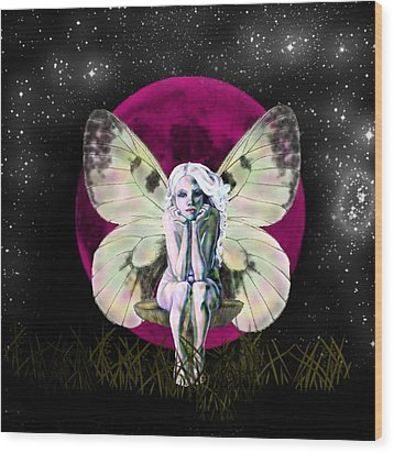 Pink Moon Fairy Wood Print by Diana Shively