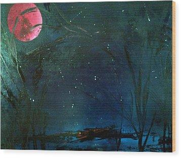 Pink Moon Wood Print