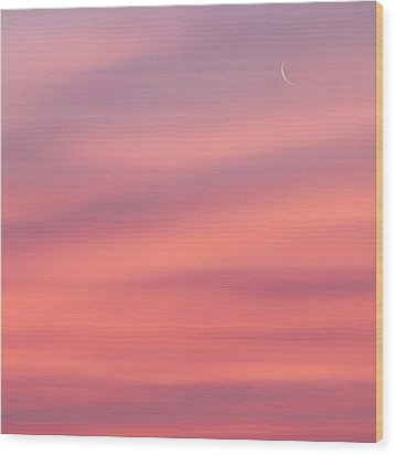 Pink Moon Square Wood Print by Bill Wakeley