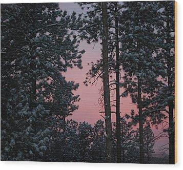 Pink Mountain Morning Wood Print