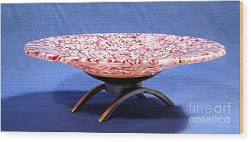 Pink Murrini Bowl With Stand Image B Wood Print by P Russell