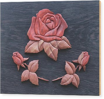 Pink My Lady Rose Wood Print by Bill Fugerer
