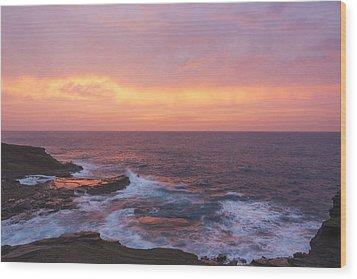 Pink Oahu Sunrise - Hawaii Wood Print by Brian Harig