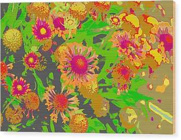Wood Print featuring the photograph Pink Orange Flowers by Suzanne Powers