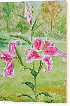 Pink Oriental Lillies Wood Print by Kathryn Duncan