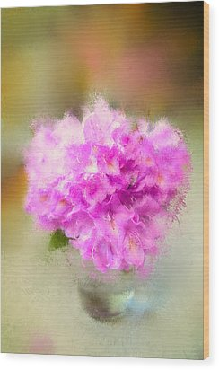 Pink Painted Rhododendrom Wood Print by Mary Timman