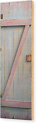 Pink Painted Z Door Wood Print by Asha Carolyn Young