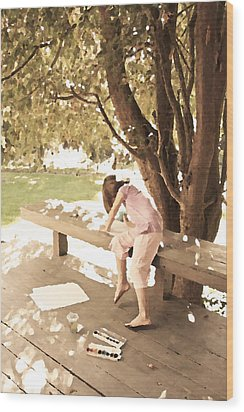 Wood Print featuring the photograph Pink Painter by Brooke T Ryan