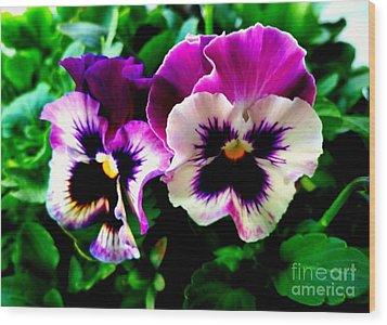 Violet Pansies Wood Print