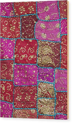 Pink Patchwork Indian Wall Hanging Wood Print by Tim Gainey