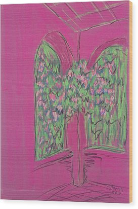 Pink Patio Wood Print by Marcia Meade