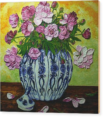 Pink Peonies In A Vase Wood Print by Paris Wyatt Llanso