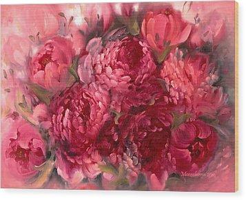Pink Peonies Wood Print