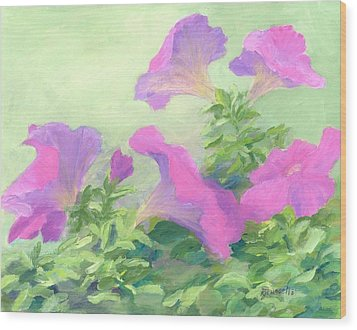 Pink Petunias Beautiful Flowers Art Colorful Original Garden Floral Flower Artist K. Joann Russell  Wood Print