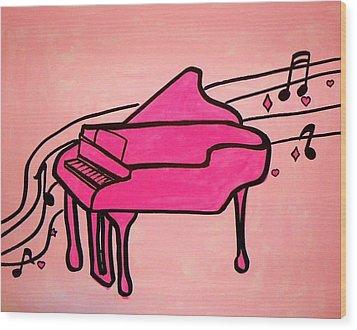 Pink Piano Wood Print by Marisela Mungia