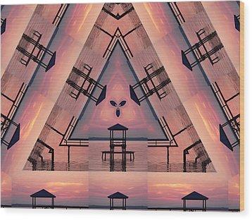 Pink Pier Kaleidoscope Two  Wood Print
