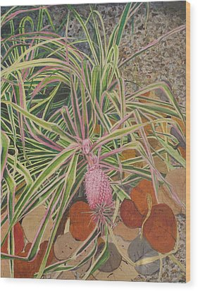 Pink Pineapple Wood Print by Hilda and Jose Garrancho