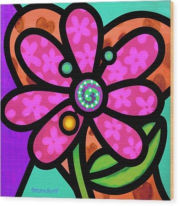 Pink Pinwheel Daisy Wood Print