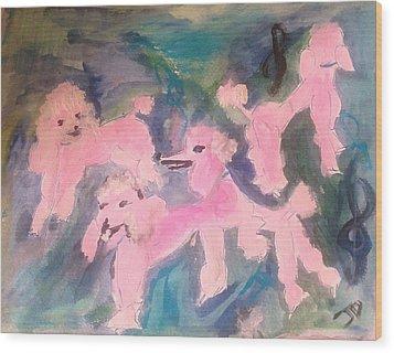 Pink Poodle Polka Wood Print by Judith Desrosiers