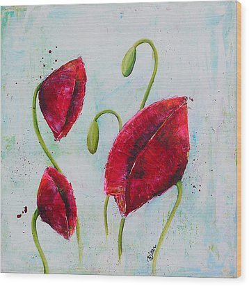 Pink Poppies 1 Wood Print by Bitten Kari
