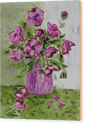 Pink Poppies In Pink Vase Wood Print